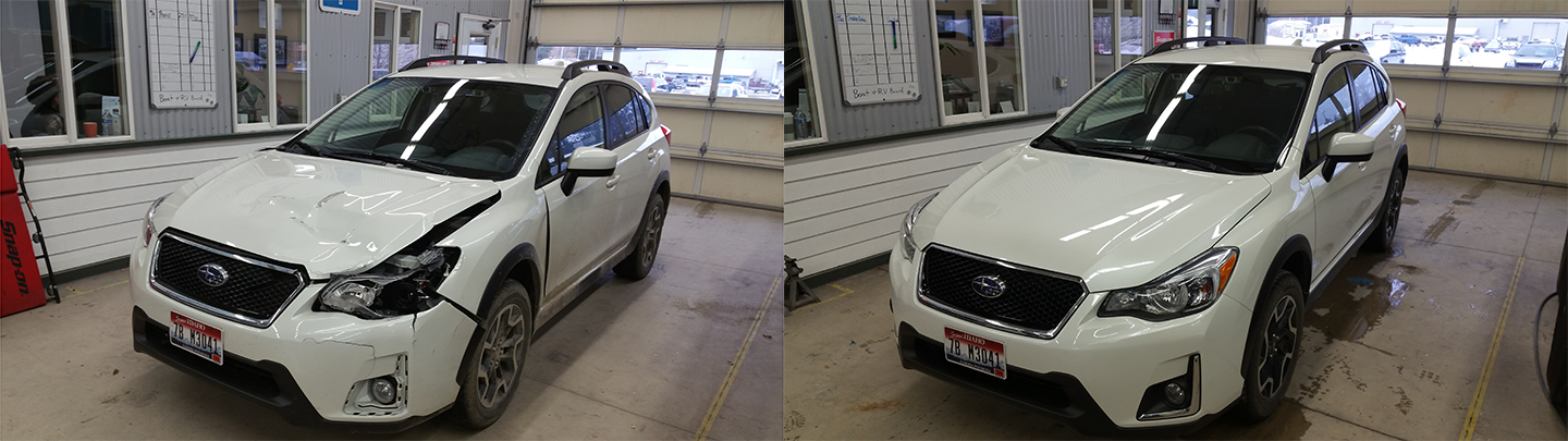 Before and after of a Subaru after it was repaired